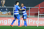 Queens Park Rangers midfielder Junior Hoilett celebrates with Queens Park Rangers midfielder Alejandro Faurlin during the Sky Bet Championship match between Bristol City and Queens Park Rangers at Ashton Gate, Bristol, England on 19 December 2015. Photo by Jemma Phillips.