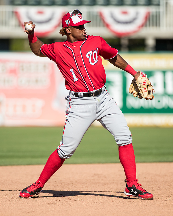 FORT MYERS, FL- FEBRUARY 26: Wilmer Difo #1 of the Washington Nationals throws against the Minnesota Twins on February 26, 2017 at Hammond Stadium in Fort Myers, Florida. (Photo by Brace Hemmelgarn) *** Local Caption *** Wilmer Difo
