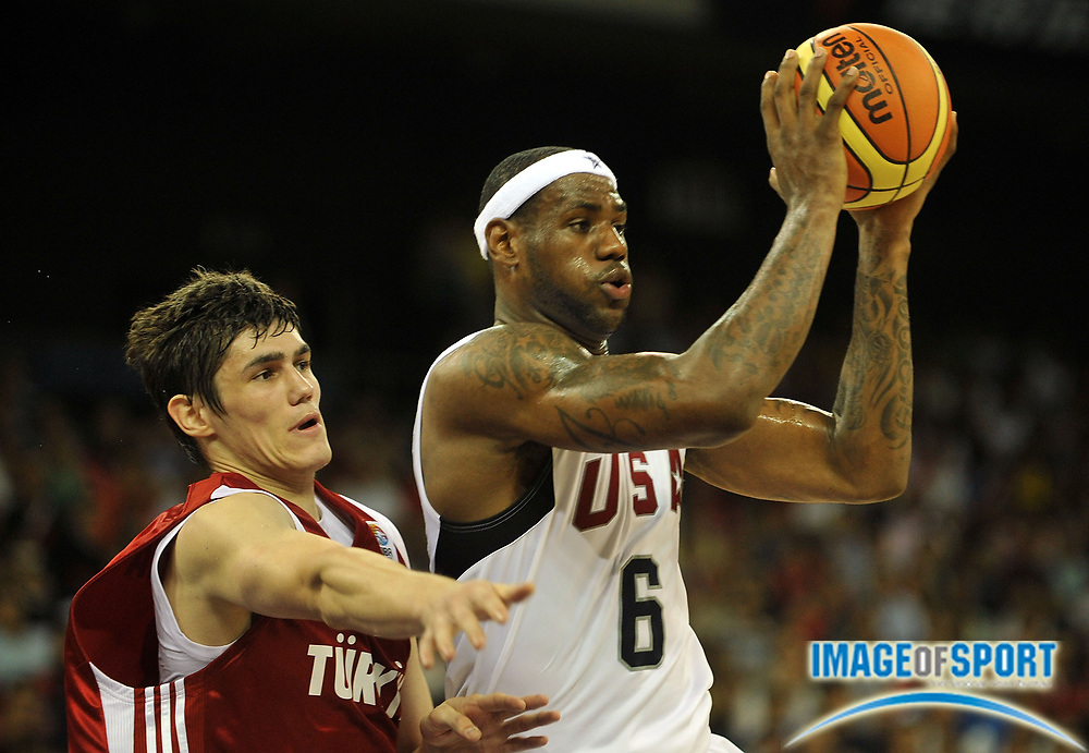 Jul 31, 2008; Macao, CHINA; USA guard  LeBron James (6) moves the ball against Turkey in a friendly match prior to the coming Olympic games. USA defeated Turkey 144-82. Mandatory Credit: CSPA via US PRESSWIRE