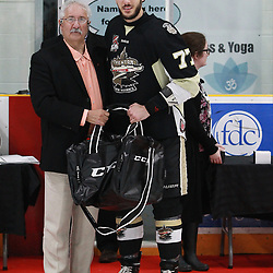 TRENTON, ON  - MAY 6,  2017: Canadian Junior Hockey League, Central Canadian Jr. &quot;A&quot; Championship. The Dudley Hewitt Cup. Championship game between Trenton Golden Hawks and the Georgetown Raiders. The 2017 Dudley Hewitt Cup All-Star Team as selected by the Tournament Directorate ,All Star Anthony Sorrentino. Award presented by President of the Ontario Hockey Federation Mr. Tony Foresi.<br /> (Photo by Tim Bates / OJHL Images)