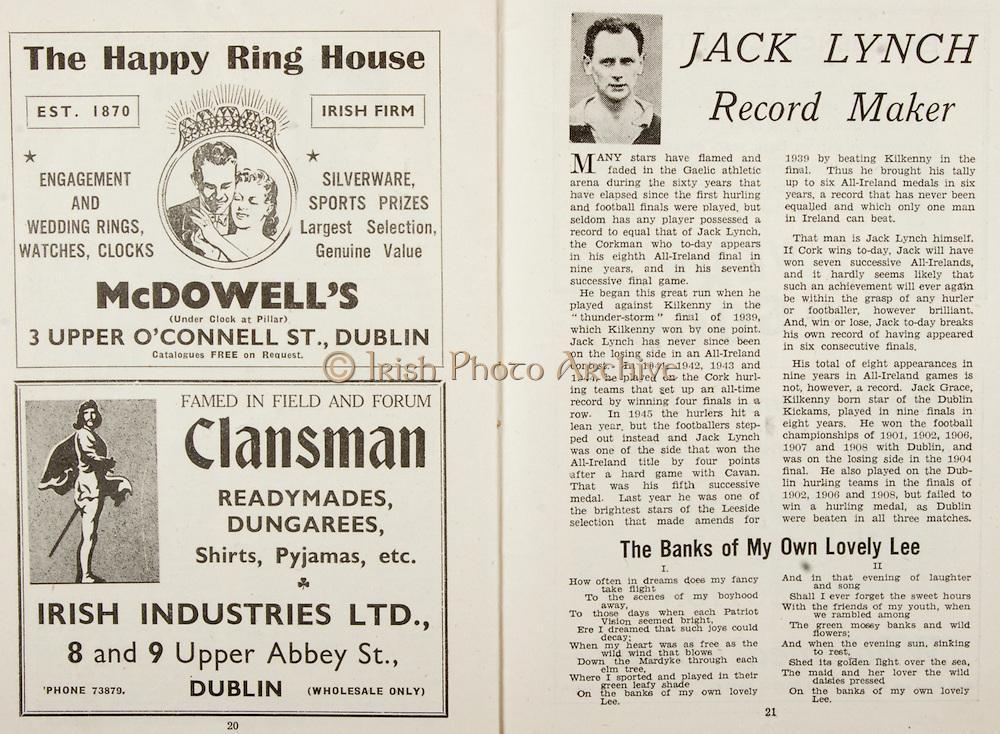 All Ireland Senior Hurling Championship Final,.Brochures,.07.09.1947, 09.07.1947, 7th September 1947,.Kilkenny 0-14, Cork 2-7,.Minor Galway v Tipperary, .Senior Kilkenny v Cork, .Croke Park,..Advertisements, McDowell's The Happy Ring House, Clansman Irish Industries Ltd, ..Articles, Jack Lynch Record Maker, ..Poems, The Banks of My Own Lovely Lee,