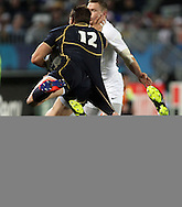 © Andrew Fosker / Seconds Left Images 2011 - Desperate tackle from England's Tom Croft on Scotland's Sean Lamont -  England v Scotland - Rugby World Cup 2011 - Eden Park - Auckland - New Zealand - 01/10/2011 -  All rights reserved..