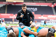 Head Coach Allen Clarke of Ospreys during the pre match warm up<br /> <br /> Photographer Simon King/Replay Images<br /> <br /> Guinness PRO14 Round 18 - Ospreys v Dragons - Saturday 23rd March 2019 - Liberty Stadium - Swansea<br /> <br /> World Copyright © Replay Images . All rights reserved. info@replayimages.co.uk - http://replayimages.co.uk