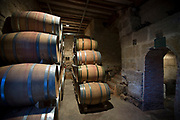 Rioja wine in American oak barrels in cave at Bodegas Agricola Bastida  in Rioja-Alavesa area of Basque country, Spain