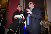 THE REVEREND RICHARD COLES ; ALEXANDER WAUGH, The Literary Review Bad Sex in Fiction Award 2014. The In and Out ( Naval and Military ) Club, 4 St. James's Sq. London SW1. 3 December 2014.