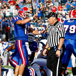 December 4, 2010; Ruston, LA, USA;  Louisiana Tech Bulldogs quarterback Ross Jenkins (11) celebrates following a touchdown during the first half against the Nevada Wolf Pack at Joe Aillet Stadium.  Mandatory Credit: Derick E. Hingle