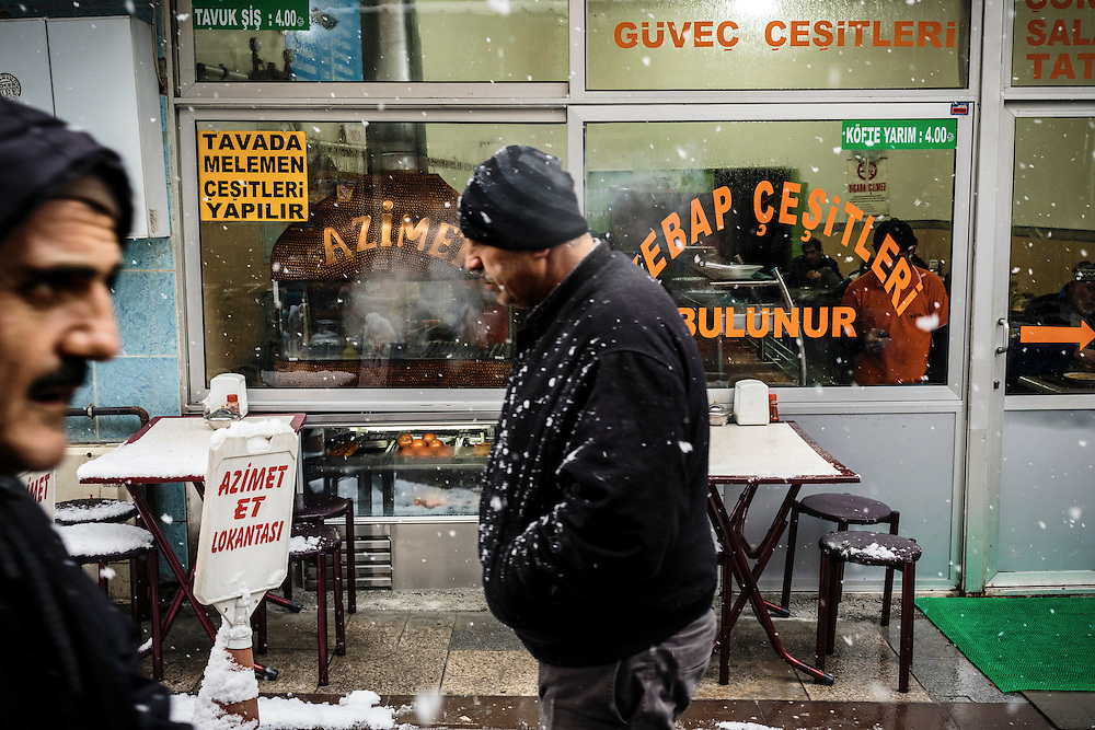 Heavy snowfall and gusty winds hit Istanbul in early January 2013 disrupting city life, air traffic and land transport.