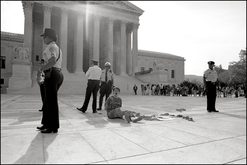 Activists from ACTUP and WHAM demonstrate at The Supreme Court on the anniversary of Row v. Wade, April 26th, 1989