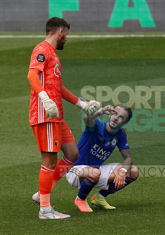Ben Foster of Watford acknowledges James Maddison of Leicester City during the Premier League match at Vicarage Road, Watford. Picture date: 20th June 2020. Picture credit should read: Darren Staples/Sportimage