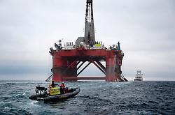 NORTH SEA MYAS 15JUN19 - Greenpeace activists intercept the BP-chartered Transocean 'The Paul B Loyd Jr' rig en route to the Vorlich field in the North Sea.<br /> <br /> jre/Photo by Jiri Rezac / Greenpeace<br /> <br /> © Jiri Rezac 2019