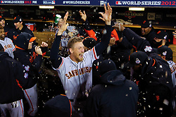 Hunter Pence and the San Francisco Giants before Game 4, 2012