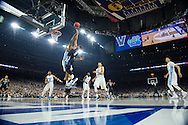 04 APR 2016: Guard Phil Booth (5) of Villanova University shoots over Forward Kennedy Meeks (3) of the University of North Carolina during the 2016 NCAA Men's Division I Basketball Final Four Championship game held at NRG Stadium in Houston, TX. Villanova defeated North Carolina 77-74 to win the national title. Brett Wilhelm/NCAA Photos