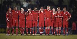 BRISTOL, ENGLAND - Thursday, January 15, 2009: Liverpool's players stand to watch the penalty shoot-out against Bristol Rovers during the FA Youth Cup match at the Memorial Stadium. L-R: Thomas Ince, Andre Wisdom, Chris Buchtmann, Jack Metcalf, David Amoo, James Ellison, captain Joe Kennedy, Steven Irwin, Lauri Dalla Valle and Nathan Eccleston. (Mandatory credit: David Rawcliffe/Propaganda)