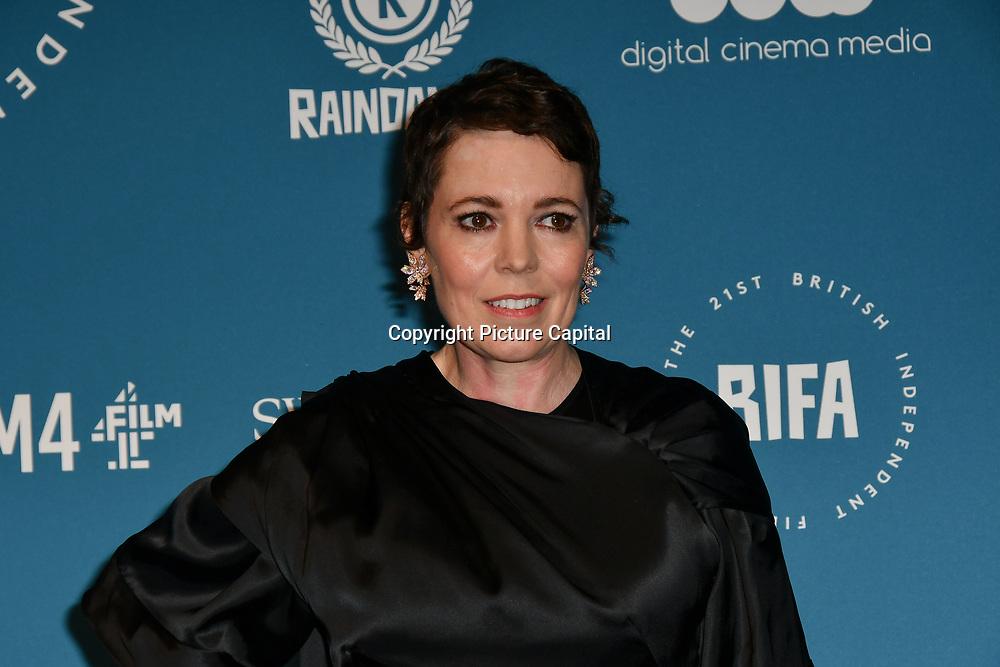 Olivia Colman Arrivers at The 21sh British Independent Film Awards at 1 Old Billingsgate Walk on 21 December 2018, London, UK.