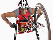 Paraplegic cycler low angle view