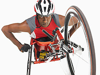 Paraplegic cycler low angle view