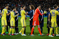 David Luiz of Paris Saint-Germain greets old teammate Branislav Ivanovic of Chelsea - Photo mandatory by-line: Rogan Thomson/JMP - 07966 386802 - 17/02/2015 - SPORT - FOOTBALL - Paris, France - Parc des Princes - Paris Saint-Germain v Chelsea - UEFA Champions League, Last 16, First Leg.