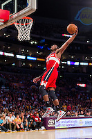 22 March 2013: Guard (2) John Wall of the Washington Wizards dunks the ball against the Los Angeles Lakers during the second half of the Wizards 103-100 victory over the Lakers at the STAPLES Center in Los Angeles, CA.