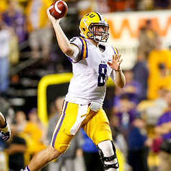 Sep 21, 2013; Baton Rouge, LA, USA; LSU Tigers quarterback Zach Mettenberger (8) throws against the Auburn Tigers during the second half of a game at Tiger Stadium. LSU defeated Auburn 35-21. Mandatory Credit: Derick E. Hingle-USA TODAY Sports