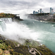 A wide-angle shot of Niagara Falls on the Niagara River on the border between the United States and Canada.
