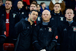 CARDIFF, WALES - Tuesday, November 14, 2017: Wales head of performance Ryland Morgans and physiotherapist Sean Connelly before the international friendly match between Wales and Panama at the Cardiff City Stadium. (Pic by David Rawcliffe/Propaganda)