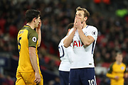 Harry Kane of Tottenham Hotspur (10) holding hands to face during the Premier League match between Tottenham Hotspur and Brighton and Hove Albion at Wembley Stadium, London, England on 13 December 2017. Photo by Matthew Redman.