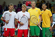 (L-R) Mariusz Fyrstenberg &amp; Marcin Matkowski &amp;Chris Guccione &amp; Nick Kyrgios before men's double during the BNP Paribas Davis Cup 2013 between Poland and Australia at Torwar Hall in Warsaw on September 14, 2013.<br /> <br /> Poland, Warsaw, September 14, 2013<br /> <br /> Picture also available in RAW (NEF) or TIFF format on special request.<br /> <br /> For editorial use only. Any commercial or promotional use requires permission.<br /> <br /> Photo by &copy; Adam Nurkiewicz / Mediasport
