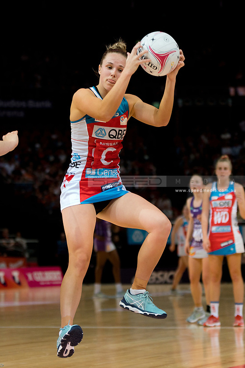 SYDNEY, AUSTRALIA - AUGUST 24: Paige Hadley of the Swifts catches the ball during the round 14 Super Netball match between the Swifts and the Queensland Firebirds at Qudos Bank Arena on August 24, 2019 in Sydney, Australia.(Photo by Speed Media/Icon Sportswire)