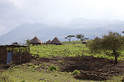 Thatched mud huts in front of a mountain backdrop, Ethiopia.