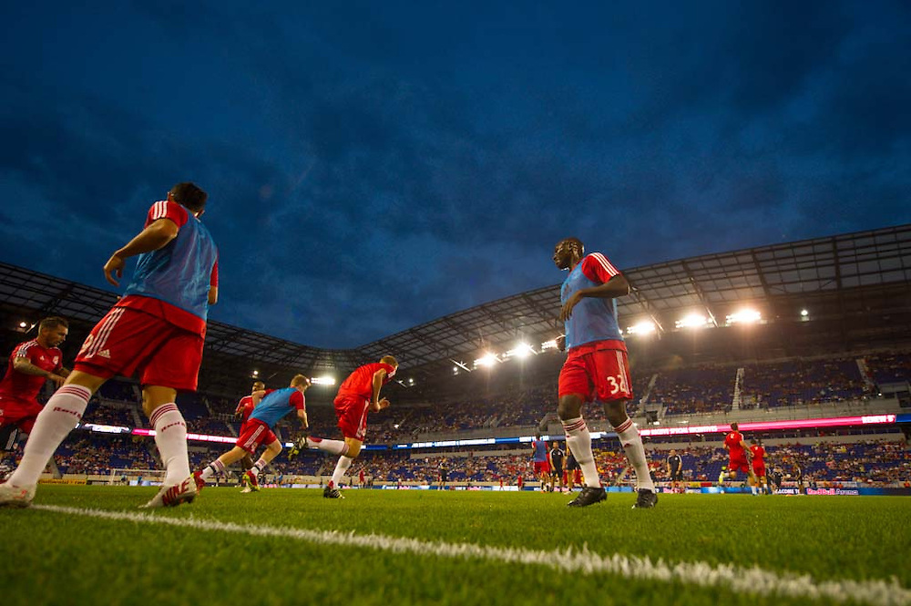 HARRISON, NJ - AUGUST 17: Members of the New York Red Bulls warm up before the game against the Philadelphia Union at Red Bulls Arena on August 17, 2013. (Photo By: Rob Tringali)