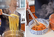 Chef Geoffrey Zakarian making Spagetti and Meatballs