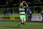 Forest Green Rovers defender Liam Shephard (2) scores a goal and celebrates to make the score 2-0 during the EFL Sky Bet League 2 match between Forest Green Rovers and Tranmere Rovers at the New Lawn, Forest Green, United Kingdom on 23 October 2018.
