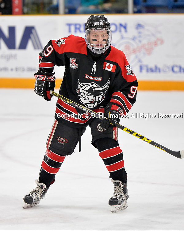 TRENTON, ON  - APR 15,  2017: Ontario Junior Hockey League, Championship Series.  Georgetown Raiders vs the Trenton Golden Hawks in Game 2 of the Buckland Cup Final.  Jordan Crocker #9 of the Georgetown Raiders during the second period.<br /> (Photo by Shawn Muir / OJHL Images)