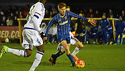 Alfie Egan on the attack during the FA Youth Cup match between U18 AFC Wimbledon and U18 Chelsea at the Cherry Red Records Stadium, Kingston, England on 9 February 2016. Photo by Michael Hulf.