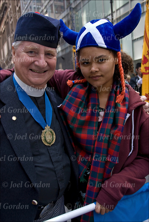 Portrait of the  Reverend J. Barrie Shepherd and his granddaughter.  Scottish Americans showing their ethnic pride for the Tartan Day Parade 2011. Tartan Day , the nationally recognized holiday that honors Americans of Scottish heritage.