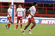 Hull Kingston Rovers prop forward Mose Masoe (10) is shown a yellow card and sin binned and leaves the field of play during the Betfred Super League match between Hull Kingston Rovers and Leeds Rhinos at the Lightstream Stadium, Hull, United Kingdom on 29 April 2018. Picture by Mick Atkins.