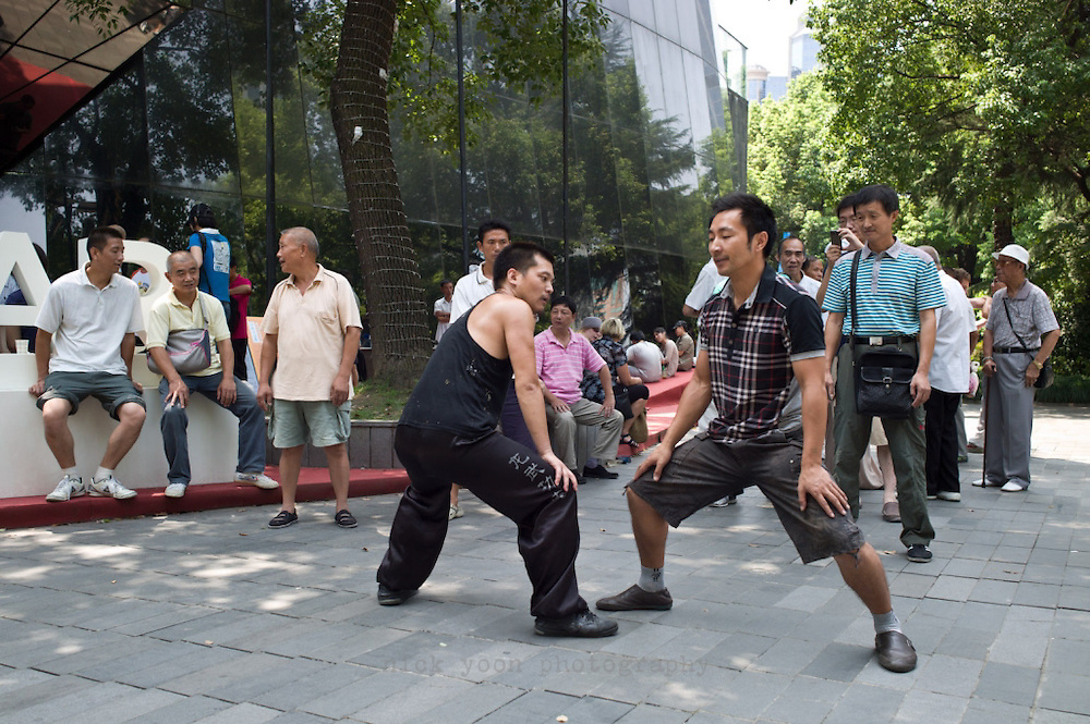 Martial artists, People's Park, Shanghai, CHina.