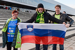 Fans of Slovenia during handball match between National teams of Slovenia and Czech Republic on Day 7 in Main Round of Men's EHF EURO 2018, on January 24, 2018 in Arena Varazdin, Varazdin, Croatia. Photo by Mario Horvat / Sportida