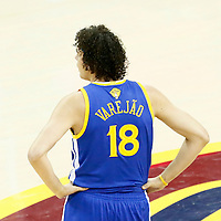 10 June 2016: Golden State Warriors forward Anderson Varejao (18) rests during the Golden State Warriors 108-97 victory over the Cleveland Cavaliers, during Game Four of the 2016 NBA Finals at the Quicken Loans Arena, Cleveland, Ohio, USA.