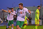 Bognor Regis Town defender Ed Sanders (6) celebrates his goal 1-1 during the Ryman Premier League match between Bognor Regis Town and Havant & Waterlooville FC at Nyewood Lane, Bognor, United Kingdom on 26 December 2016. Photo by Jon Bromley.