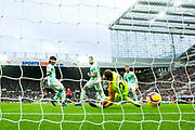 Jose Salomon Rondon (#9) of Newcastle United scores Newcastle United's first goal (1-0) with a strike from inside the box during the Premier League match between Newcastle United and Bournemouth at St. James's Park, Newcastle, England on 10 November 2018.