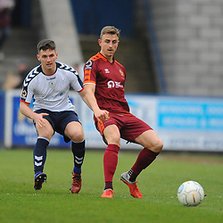 TELFORD COPYRIGHT MIKE SHERIDAN 5/1/2019 - Ross White of AFC Telford battles for the ball with Glen Taylor during the Vanarama Conference North fixture between AFC Telford United and Spennymoor Town.