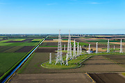 Nederland, Flevoland, Flevopolder, 24-10-2013; Zenderpark Flevoland, kortegolfzendstation, ook bekend als Zenderpark Radio Nederland Wereldomroep. Oorspronkelijk in gebruik bij de Wereldomroep.<br /> Shortwave Broadcasting station in the polder of Flevoland. Formerly used by Radio Netherlands Worldwide (Radio Nederland Wereldomroep).<br /> luchtfoto (toeslag op standard tarieven);<br /> aerial photo (additional fee required);<br /> copyright foto/photo Siebe Swart