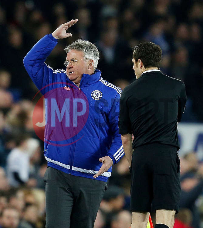 Chelsea Manager, Guus Hiddink reacts angrily towards the linesman - Mandatory byline: Matt McNulty/JMP - 12/03/2016 - FOOTBALL - Goodison Park - Liverpool, England - Everton v Chelsea - FA Cup Quarter Final