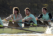 Putney, Great Britain,  CUBC.True Love. right to left, John HEDER, 4. Ryan MONAGHAN, 5. Dan SHAUGHNESSY, on  the Hammersmith Bend during the 2007 Cambridge University Trial Eights, right, One Night Stand  a few feet down to True Love,  raced over the championship Course from Putney to Mortlake  11/12/2007 [Mandatory Credit Peter Spurrier/Intersport Images] , Rowing Course: River Thames, Championship course, Putney to Mortlake 4.25 Miles, , Varsity Boat Race.