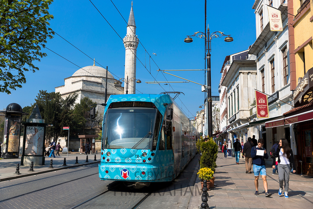 Public tram system, road and street scene in Sultanahmet district of Istanbul old town, Republic of Turkey