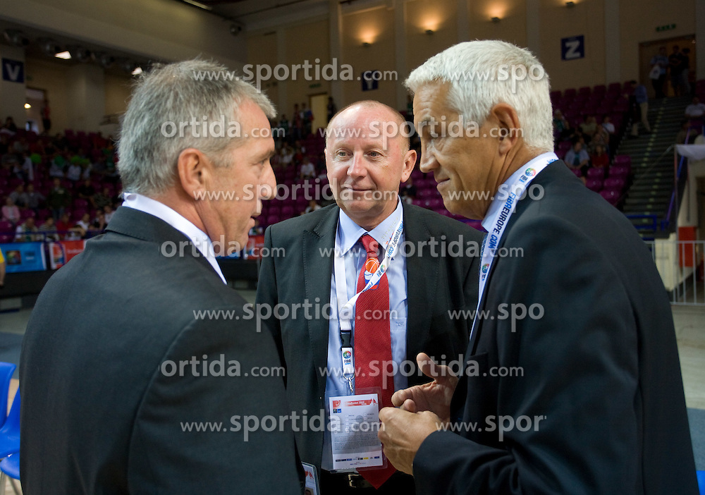 Iztok Rems, Dusan Sesok and Nar Zanolin of FIBA before the basketball match at 1st Round of Eurobasket 2009 in Group C between Slovenia and Great Britain, on September 07, 2009 in Arena Torwar, Warsaw, Poland. (Photo by Vid Ponikvar / Sportida)
