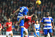 Queens Park Rangers defender Gabriele Angella and Bristol City forward Aaron Wilbraham during the Sky Bet Championship match between Bristol City and Queens Park Rangers at Ashton Gate, Bristol, England on 19 December 2015. Photo by Jemma Phillips.