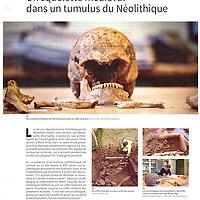 Publication de Eric Frotier de Bagneux sur Morbihan le journal du département du mois de juillet-aout 2014/ Sujet sur une découverte archéologique à Quiberon