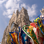 Colorful flags and the Duomo, Siena, Italy<br />